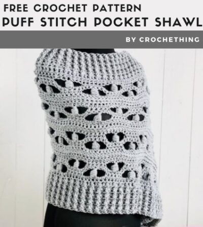 Free Crochet Pattern Puff Stitch Pocket Shawl