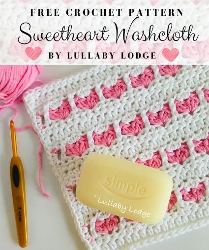 Free Crochet Pattern Sweetheart Washcloth