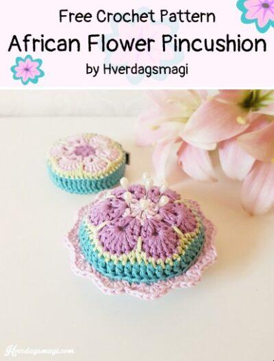 Free Crochet Pattern African Flower Pincushion