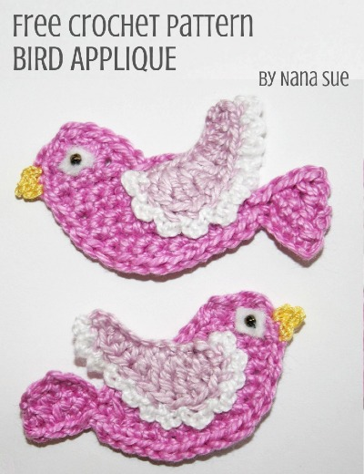 Free Crochet Pattern Bird Applique
