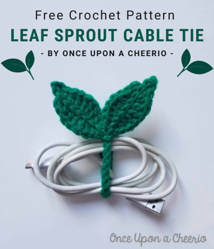 Free Crochet Pattern Leaf Sprout Cable Tie