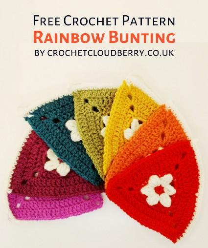Free Crochet Pattern Rainbow Bunting