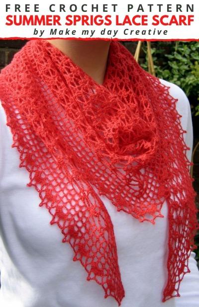 Free Crochet Pattern Sprigs Lace Scarf