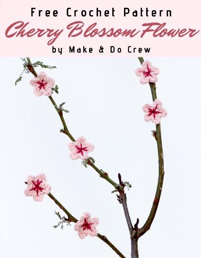 Free Crochet Pattern Cherry Blossom Flower