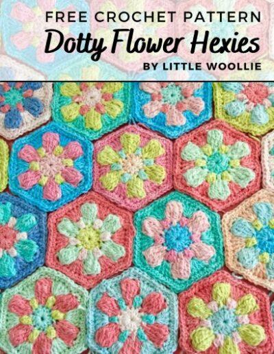 Free Crochet Pattern Dotty Flower Hexies