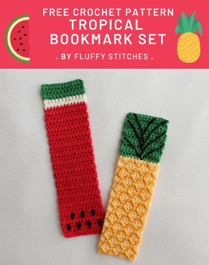 Free Crochet Pattern Tropical Bookmark Set