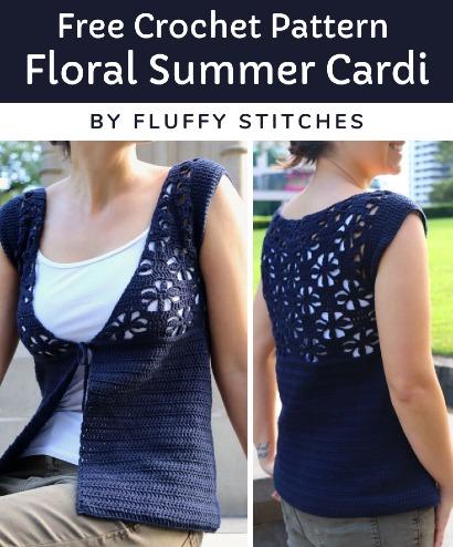 Free Crochet Pattern Floral Summer Cardi