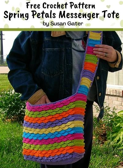 Free Crochet Pattern Petals Messenger Tote