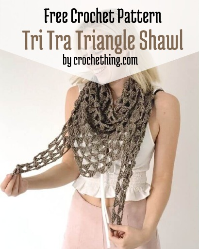 Free Crochet Pattern Tri Tra Triangle Shawl