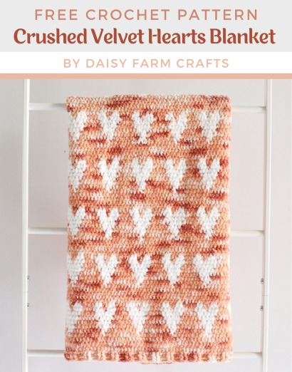 Free Crochet Pattern Velvet Hearts Blanket