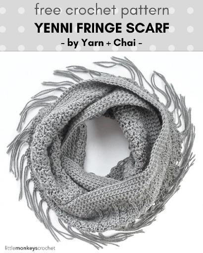 Free Crochet Pattern Yanni Fringe Scarf