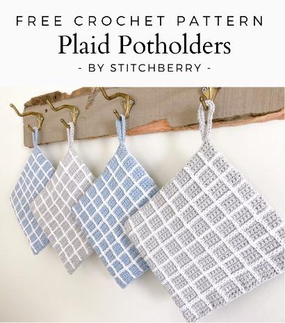 Free Crochet Pattern Plaid Potholders