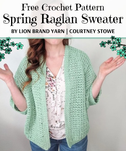 Free Crochet Pattern Spring Raglan Sweater
