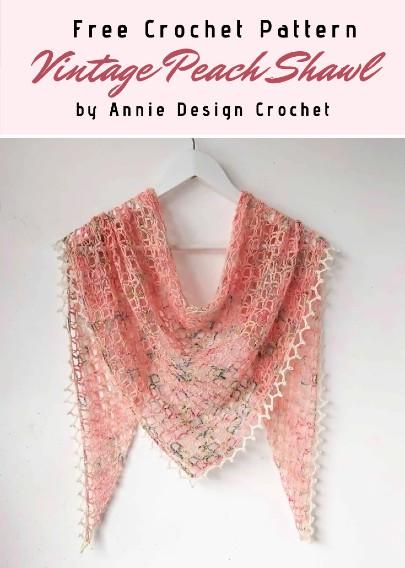 Free Crochet Pattern Vintage Peach Shawl