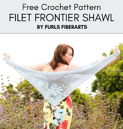 Free Crochet Pattern Filet Frontier Shawl