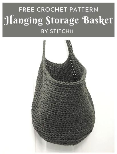 Free Crochet Pattern Hanging Storage Basket