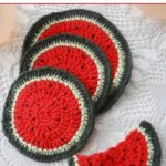 Free Crochet Pattern Watermelon Coasters