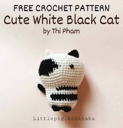 Free Crochet Pattern White Black Cat