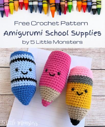 Free Crochet Pattern Amigurumi School Supplies