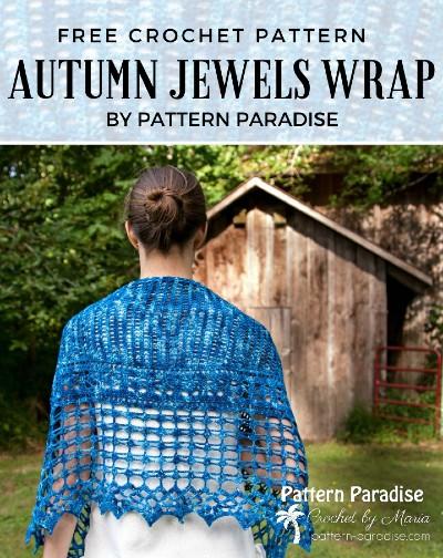 Free Crochet Pattern Autumn Jewels Wrap