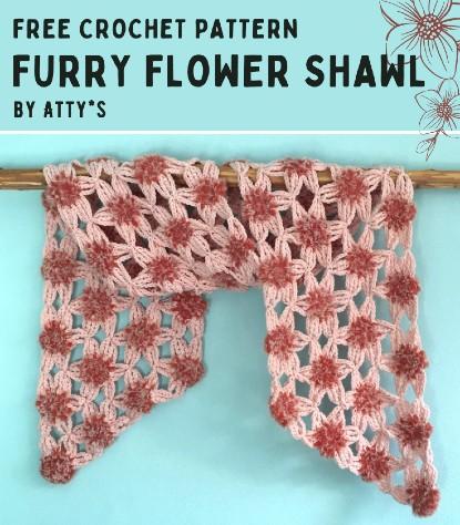 Free Crochet Pattern Furry Flower Shawl