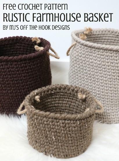 Free Crochet Pattern Rustic Basket