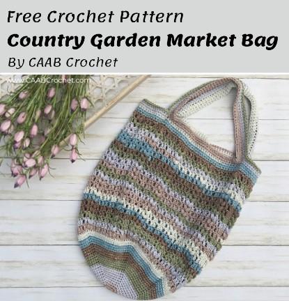 Free Crochet Pattern Country Garden Market Bag