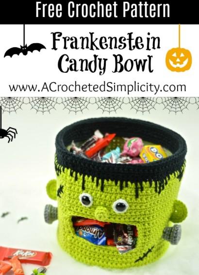 Free Crochet Pattern Frankenstein Candy Bowl